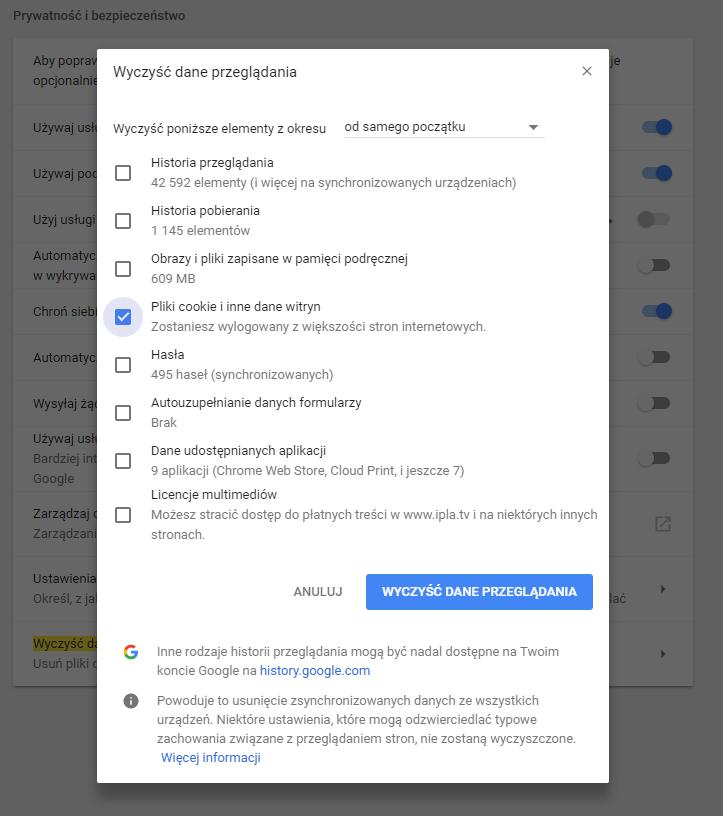 Jak usunąć pliki cookies - Google Chrome