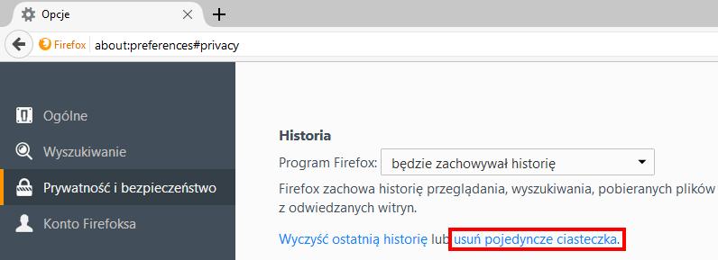 Jak usunąć pliki cookies - Firefox
